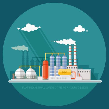 石油化学プラントのガス貯蔵球タンク。抽出と液化ガスの処理。工場、都市景観の背景に駅。フラット アイコン