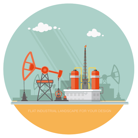 Ecology Concept - Oil industry vector illustration, Infographics. Processing of gasoline fuel. icons for your design Illustration