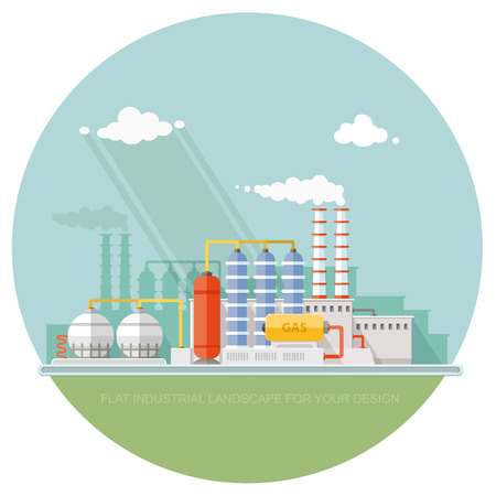 Plant for the extraction and processing of oil and gas. storage in tanks and barrels. Vector flat style Illustration