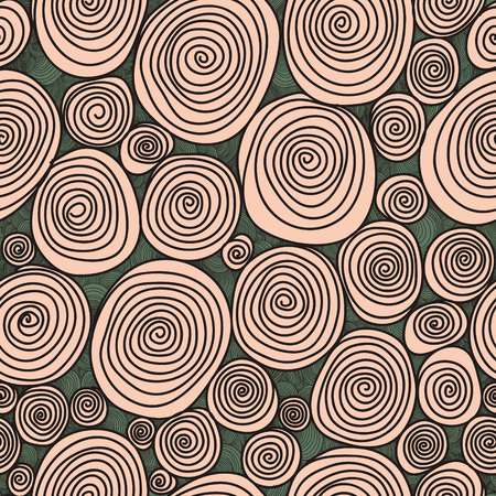 Abstract seamless flower, drawn with curls vector texture. Wallpaper, backgrounds, decoration, fabric for your design.