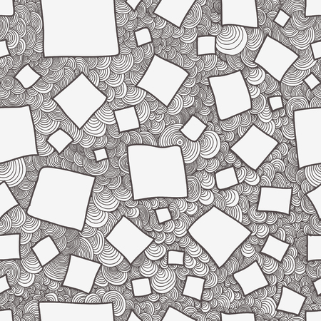 Abstract seamless squares doodle, drawn with curls vector texture. Wallpaper, backgrounds, decoration, fabric for your design.