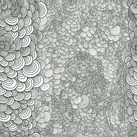 Abstract seamless astrakhan curl circles, drawn with curls vector texture. Wallpaper, backgrounds, decoration, fabric for your design. Illustration