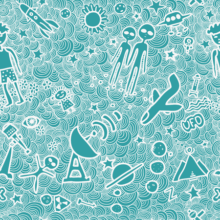Seamless pattern with aliens and UFOs 向量圖像