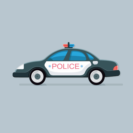 Police car icon. Vector auto with flashers of cops. Flat vector illustration isolated for design