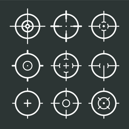 Different icon set of targets and destination. Target and aim, targeting and aiming. Vector illustration for web design 矢量图像