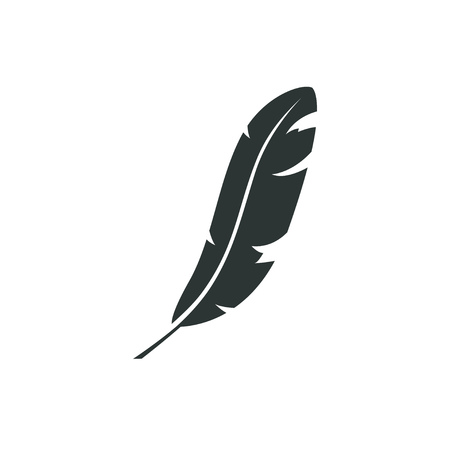 Feather vector icon isolated on white background. Pen for calligraphy and design. Graphic illustration