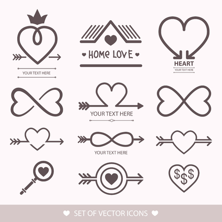 Set decorative icon for Valentines day. Graphic romantic element heart and arrow. Decoration for the wedding icon love vector illustration.