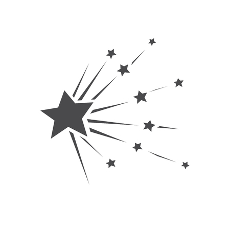 Falling stars vector set with different tails. Shooting star isolated from background. Icons of meteorites and comets. Graphic illustration for web design 向量圖像