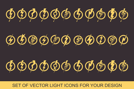 Lightning, electric power vector design element. Energy and thunder electricity symbol concept. Light bolt sign,  Flash vector emblem template.