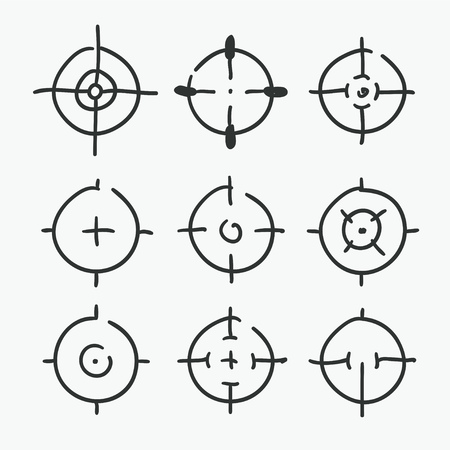 Different icon set of targets and destination. Vector illustration on white background.