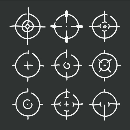 Different icon set of targets and destination. Vector illustration on black background.