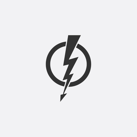 Lightning, electric power vector icon design element. Energy and thunder electricity symbol concept. Lightning bolt sign in the circle. Flash vector emblem template. Power fast speed illustration.