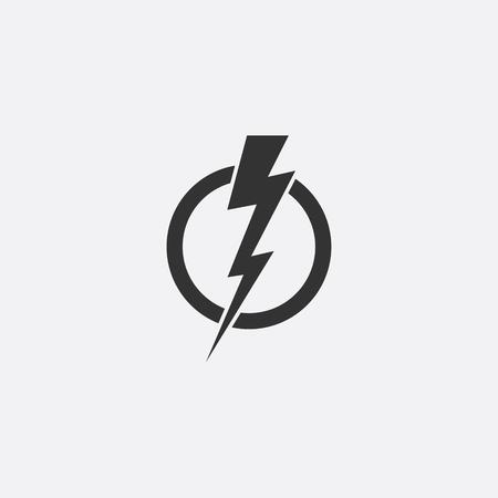 Lightning, electric power vector icon design element. Illustration