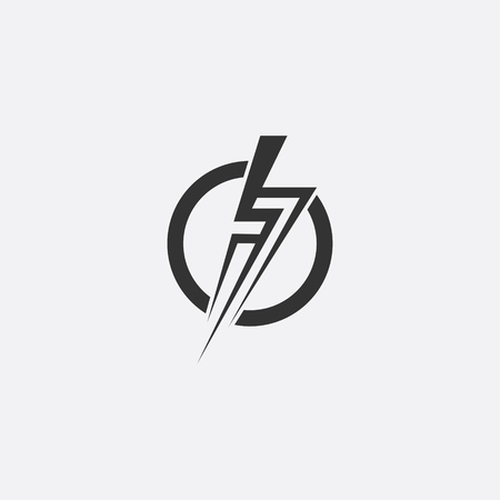 Lightning, electric power vector icon design element. Illustration