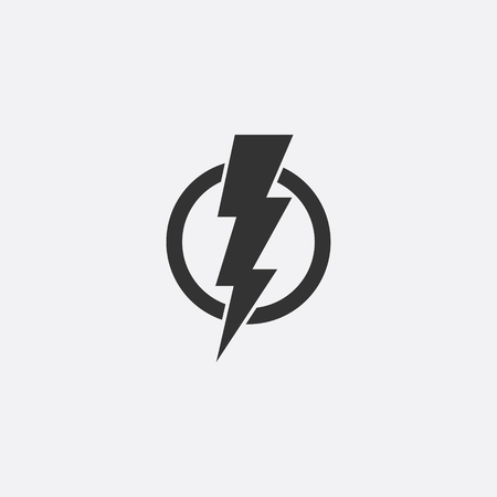 Lightning, electric power vector icon design element. Energy and thunder electricity symbol concept. Lightning bolt sign in the circle. Flash vector emblem template. Power fast speed icon. Vettoriali