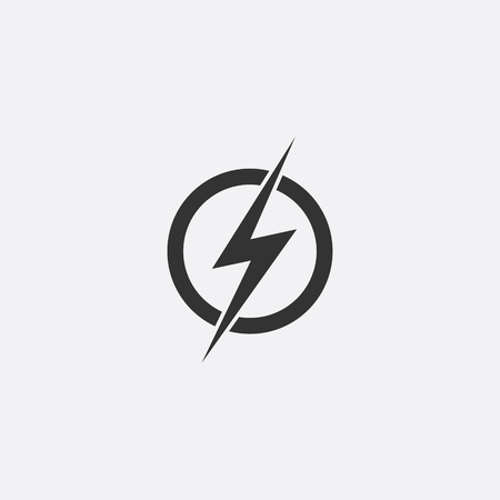 Lightning, electric power vector icon design element. Energy and thunder electricity symbol concept. Lightning bolt sign in the circle. Flash vector emblem template. Power fast speed icon. Çizim
