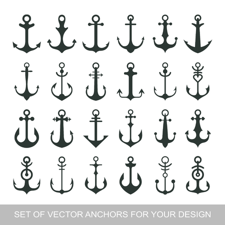 Set anchor emblem. Template sailor icon. Marine symbol symbol. Vector illustration of a yacht club, travel agency. theme of travel.