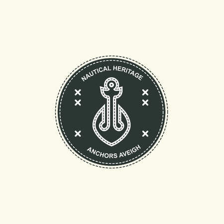 Sea and nautical typography badge and design element. Illustration