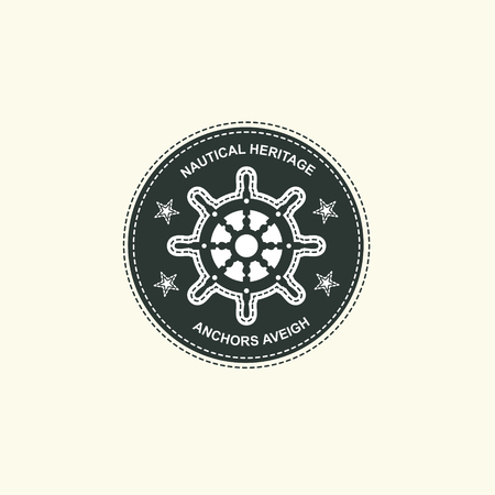Sea and nautical typography badge and design element. Stock Illustratie