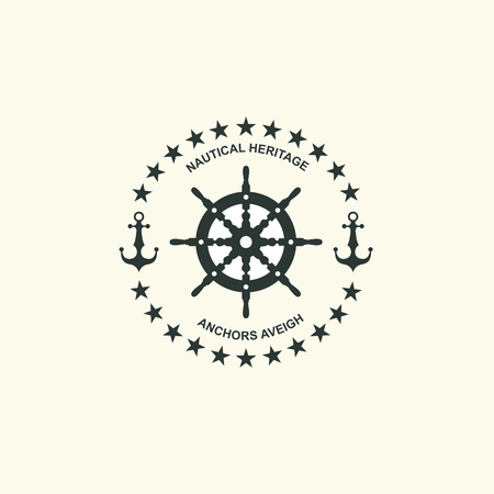 Sea and nautical typography badge and design element. Çizim