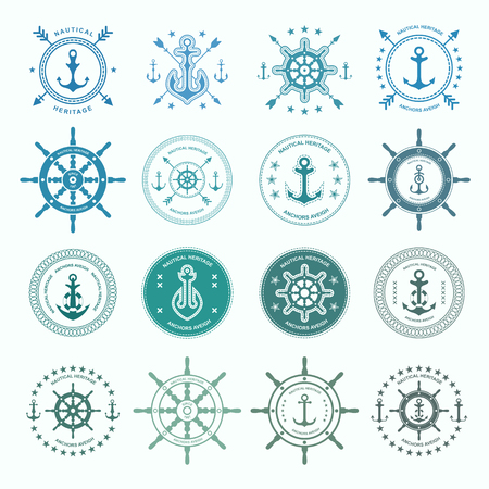 Set of sea and nautical typography badges and design elements.