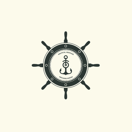 Sea and nautical typography badge and design element. Template for company icon or web decoration. Marine cruise, beach resort, shipbuilding Anchor, steering wheel. Vector collection. Çizim