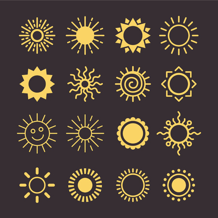 Sun icon vector set in a flat style. Different icons for summer logo. Collection of graphic illustrations on an isolated background. various icons with rays.