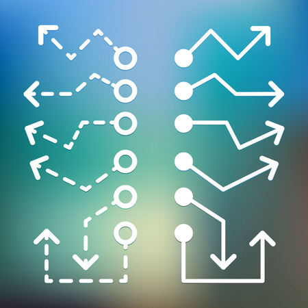Different white Arrows icons, vector set. Abstract elements for business infographic.