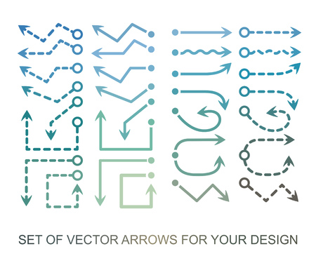 Different colored Arrows icons, vector set, Abstract elements for business graphic information.