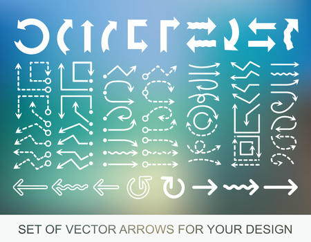Different white Arrows icons, vector set, Abstract elements for business graphic information.