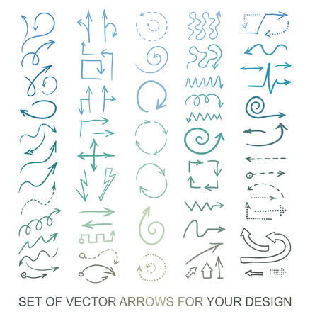 Different arrows icons, vector set. Abstract elements for business inf-ographic. Up and down trend. Illustrations for web design.