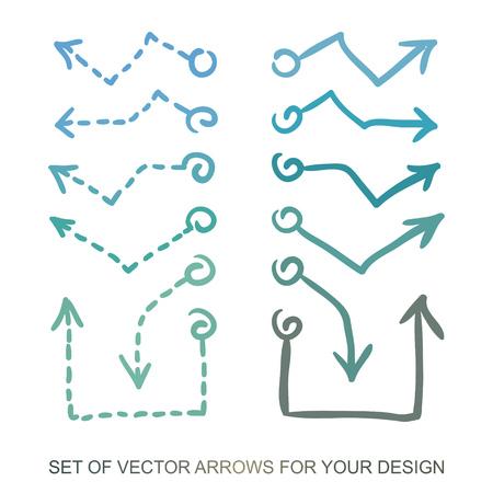 Iconos de flechas diferentes, conjunto de vectores. Elementos abstractos para el negocio de información gráfica. Tendencia al alza y a la baja. Ilustraciones para diseño web. Foto de archivo - 96759845