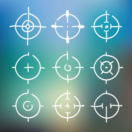 Different icon set of targets and destination. Target and aim, targeting and aiming. Vector illustration for web design.