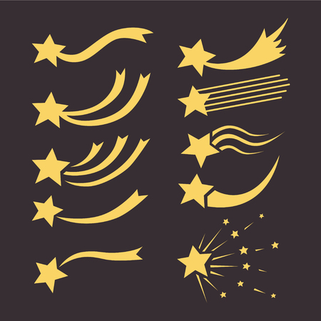 Falling stars vector set with different tails. Shooting star isolated from background. Icons of meteorites and comets. Graphic illustration for web design Çizim