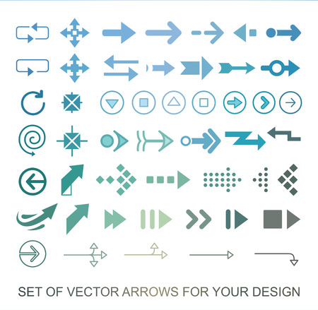 Different colored Arrows icons, vector set. Abstract elements for business infographic. Çizim