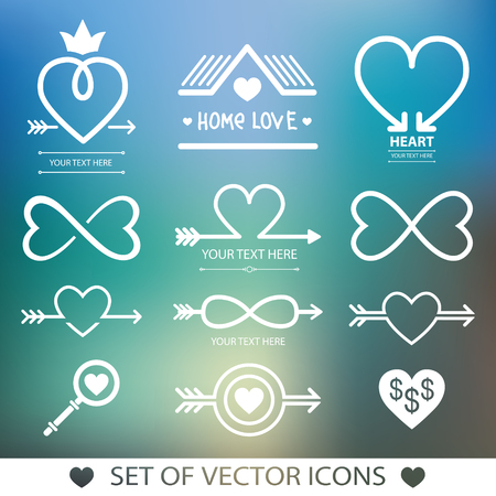 Set decorative icon for Valentines Day. Graphic romantic element Heart and arrow. Decoration for the wedding.
