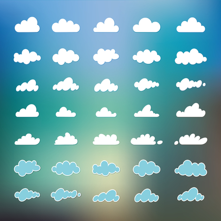 Set of cartoon variety of clouds isolated on blue sky background, Cloudscape. A collection of vector icons, illustrations, drawings. Web design Çizim