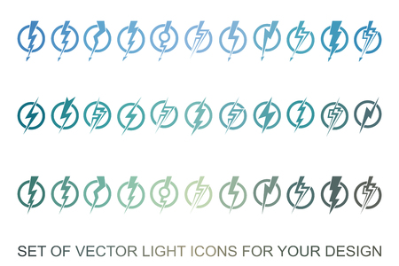 Lightning, electric power vector design element. Energy and thunder electricity symbol concept. Light bolt sign. Flash vector emblem template. Power fast speed logotype, logo Çizim