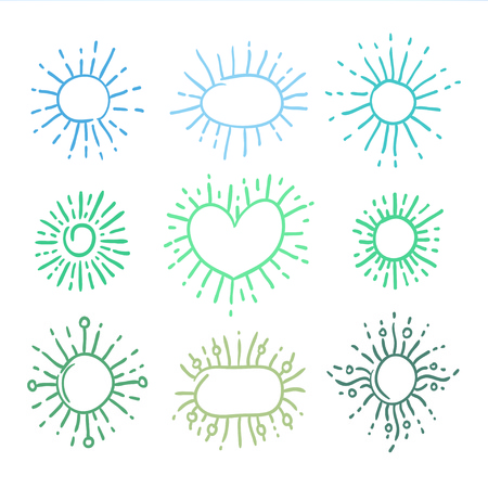 Set of linear drawing of rays of the sun in vintage style. Oval elements, round stickers sunbursts. Graphic illustration for web design Vettoriali
