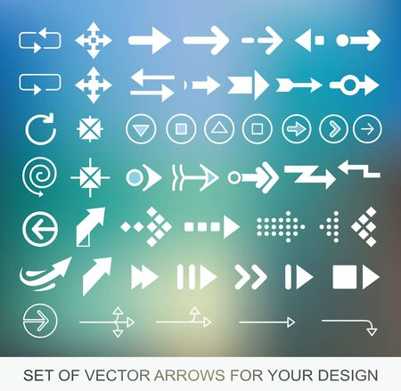 Different white Arrows icons, vector set. Abstract elements for business infographic. Up and down trend Illustrations for Web Design