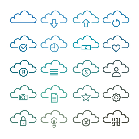 Simple Set of Computer Cloud Related Vector Line Icons. Vector graphic logo, Logotype.