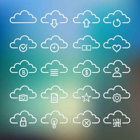Simple Set of Computer Cloud Related Vector Line Icons. Çizim