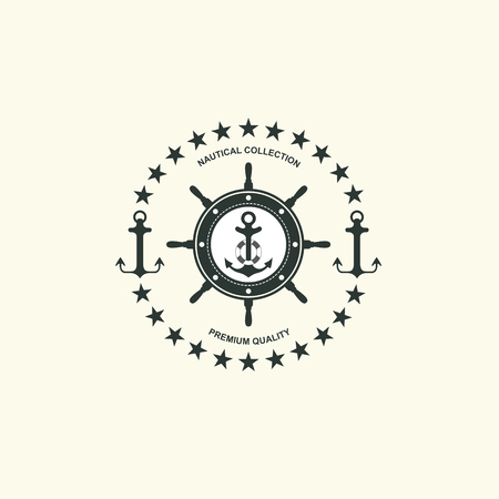 Sea and nautical typography badge and design element. Template for company icon or web decoration.