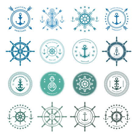 Set of sea and nautical typography badges and design elements. Templates for company icon or web decoration. Marine cruise, beach resort, shipbuilding. Vector collection.