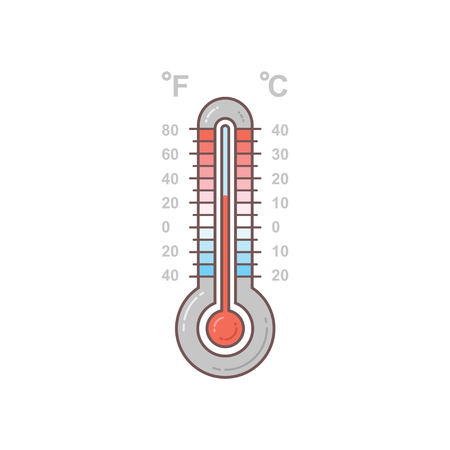 Hot and cold meteorology thermometers on transparent background. Blue and red thermometers. Vector icon graphic illustration for design Vektorové ilustrace