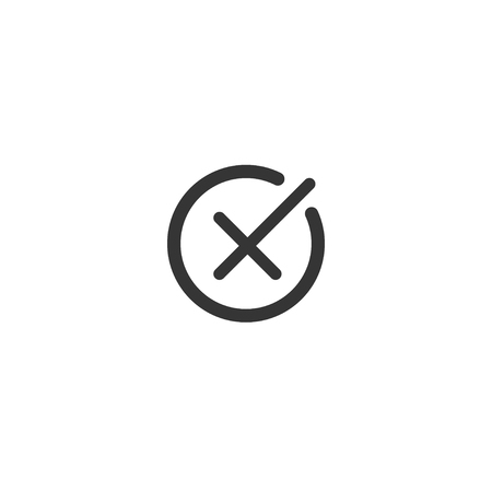 Rejection symbol vector buttons for vote, election choice. Circle brush stroke borders. Symbolic OK and X icon isolated on white.