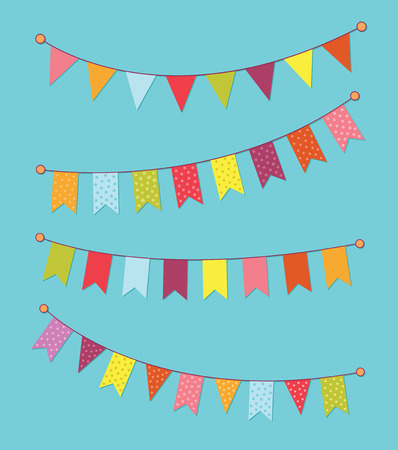 Vector set of decorative party pennants with different sizes and lengths.