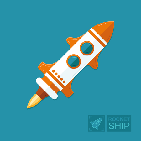 Concept rocket on a blue sky background. The spacecraft in space is a symbol of science and achievement of goals in business. Graphic vector flat illustration