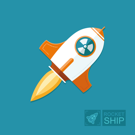 Concept rocket on a blue sky background. nuclear bomb is launched from the state of the aggressor. Threat to peace on earth. Graphic vector flat illustration Illustration