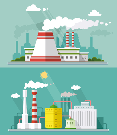Set vector blue factory pollution icons drawn simple line art info graphic, presentation with Nuclear Power Plant. Illustration